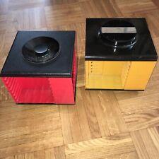 2 x 70er Jahre MC-Kassetten-Rondell gelb + rot Vintage Space Age Pop Art