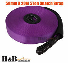 50mm x 20M 5T Snatch Strap Winch Extension 5 Tons 4WD Recovery Tow Strap C0044