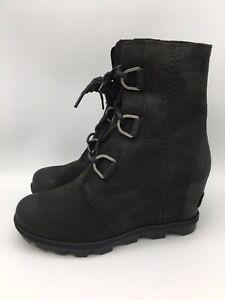 SOREL Women's Joan Of Arctic Wedge II Black Waterproof Ankle Boots Size 7.5