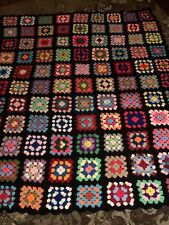 Preowned Large Handmade Roseanne Crochet Afghan Granny Square 55�x68�