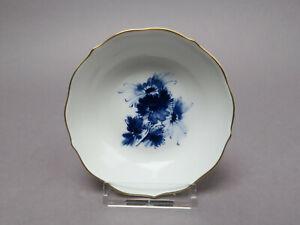 Meissen Teller Blaue Blume Aquatina Goldrand Teebeutelschale 10,4 cm Ø
