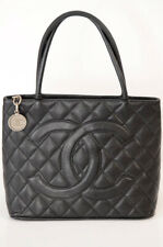 Chanel black quilted pebbled leather CC logo charm toe handbag purse $2400