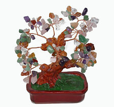 Chinese Feng Shui Multi Color Crystal Gem Stone Bonsai Money Tree 7""