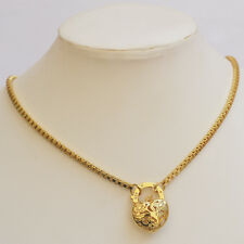"""9K Yellow Gold Filled Square Belcher Necklace With Heart Locket """"Stamp 9K"""""""