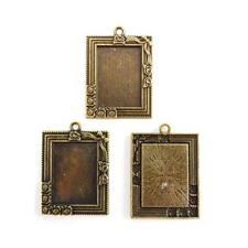 Buddly Crafts Rose Rectangle Metal Frames - 3pcs Antique Bronze AB38