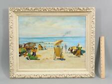 Original American Impressionist Beach Oil Painting, Women & Beach Umbrellas, NR