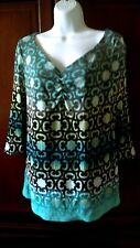 Axcess Top L Stretch Knit Artsy Popover Shirt Blouse Women's Large