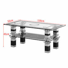 Modern Glass Chrome Coffee Table Clear Glass Top 2 Tiers Living Room Table Leg