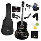 39 Inches Concert Acoustic Guitar with Full Kit, Glossy Black  for sale