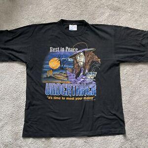 Vintage UNDERTAKER Rest In Peace wrestling T-shirt 90s Deadstock SZ XL