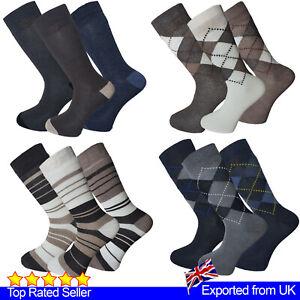 Mens Designer Socks Cotton Rich Diamonds Stripes 12 Pairs Size 6 11