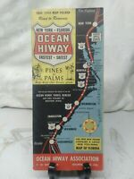 Vintage 1954 New York to Florida Ocean HiWay Map Road to Romance