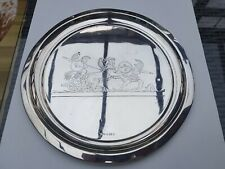More details for antique solid silver salver tray greek / roman soldiers chariot birmingham 1901