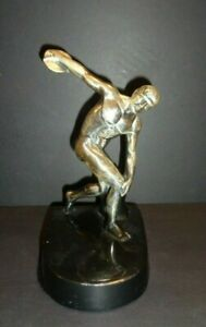 Vintage DISCOSOLE The Discus Thrower Sculpture Repro Paperweight Bookend