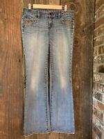 Express Womens Embroidered Embellished Medium Wash Boot Cut Denim Jeans Size 8