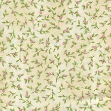 SMALL PINK ROSEBUDS FLOWER BUD ON CREAM Cotton Fabric BTY for Quilting Craft Etc