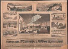 1860 Lithographie Le chemin de fer train gare locomotive viaduc cheminots