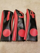 Vintage Leather Head Cover Set #'s 1, 3 & 4 Black/Red Japanese