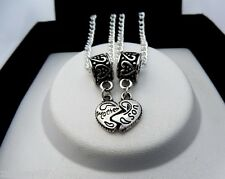 2 x Silver MOTHER SON Mum Linking Heart Charm Pendant Necklaces 56cm