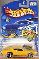 2002 Hot Wheels Collector No #116 '71 PLYMOUTH GTX Yellow w/5 Spoke Wheel  55001