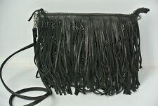 Sam Edelman Black Fringe Leather Messenger Cross Body Handbag Purse NICE!!