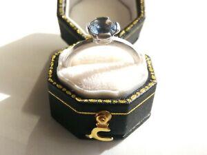 Sterling silver blue Topaz ring Di Giorgio Paris size O 3g