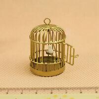 Metal Bird Gold Cage W/ White Bird for 1/12 Dollhouse Miniature Low Price