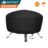 Durable Weather-Resistant Round Fire Pit Cover Outdoor Waterproof Black 30 Inch