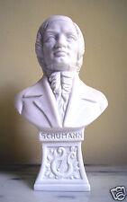 Statua Busto Schumann in polvere di Alabastro Bianco 15 cm