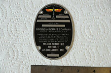 Boeing Antique Aircraft Data Plate acid etched aluminum B-17 and Other Models
