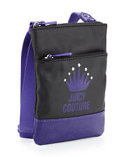 NEW Juicy Couture Purple & Black Canvas Crossbody Zip Handbag Purse MSR$128 NWT
