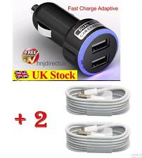 For Apple iPhone 8/7/6/5/5S/5C In Car Super Fast Charger+2x Usb Lead Data Cable
