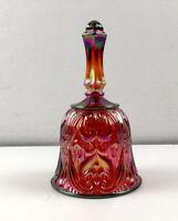 "Fenton Red Carnival Art Glass Bell 6.5"" Bird Pattern Opalescent Vintage Amber"