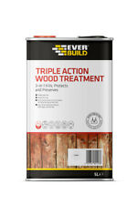 Everbuild Triple Action Wood Treatment | Preserver Dry & Wet Rot Decay | 5Litre