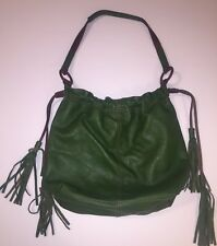 Lucky Brand Kelly Green Leather Hobo Drawstring Handbag Purse With Tassel