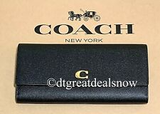 NEW Coach Envelope Wallet 66570 Black Grained Leather Clutch $295