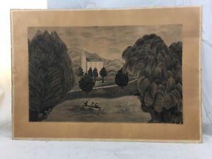 Orig. 18thC NH Folk Art Landscape Children Ducks & Church Pencil Drawing Framed