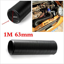 1m 63mm Cold Air Intake Hose Ducting Feed Pipe Flexible Black For Car Air Filter