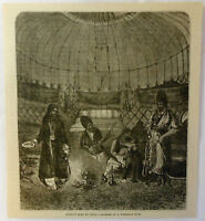 1878 magazine engraving ~ INSIDE OF A TURKOMAN TENT Russia's road to India