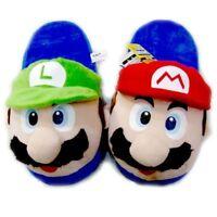 Super Mario Plüsch Hausschuhe Pantoffeln Schlappen Luigi Winter Kinder Damen Neu