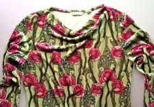 Vintage Floral Green Velour Art Deco Bechamel Pullover Top Long Sleeve Euc!