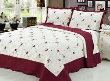 Embroidered 3 Pieces Reversible Quilt Set, Burgundy Color, California King Size