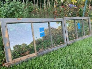 2 - 34 x 18 Vintage Basement Window Sashes old 3 pane From 1937  Arts & Craft