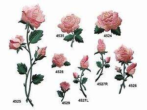 Pink Rose Flower w/Green Leaves Embroidery Iron On Applique Patch