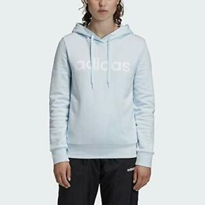 Adidas Women's Essentials Linear Pullover Hoodie, Sky Tint/White