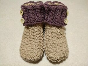 Womens Hand Knitted Style Beige Color Cozy Slippers Indoor Handmade Booties