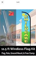 CHILDCARE Windless Feather Banner Flag Kit (Flag, Pole, & Ground Mt)