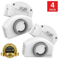 4x Indoor 24 Hour Daily Mechanical 2 Prong Outlet Light Timer Plug In Switch ETL