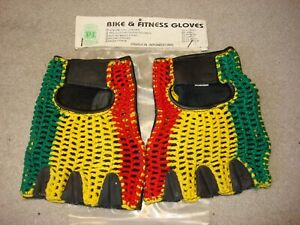 PARAGON RED YELLOW GREEN CROCHETED & LEATHER GLOVES SM FINGER-LESS DUCATI MX BMX