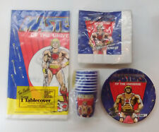 VTG 1983 1986 OFFICIAL MOTU HE-MAN PARTY SET TABLECOVER, CUPS TOM SMITH NEW